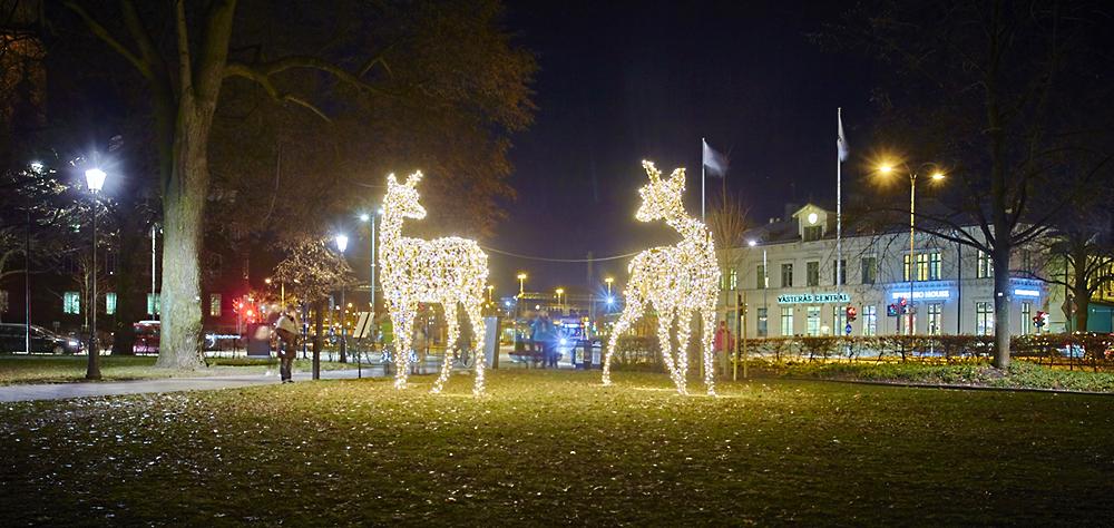 Västerås stad 15-268, Invigning julbelysning, nya rådjur