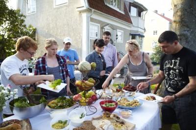 trädgårdsfest, mat, party