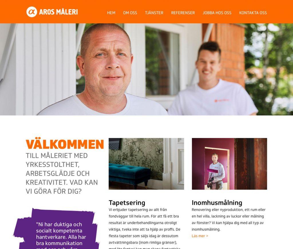 Aros Måleri hemsida